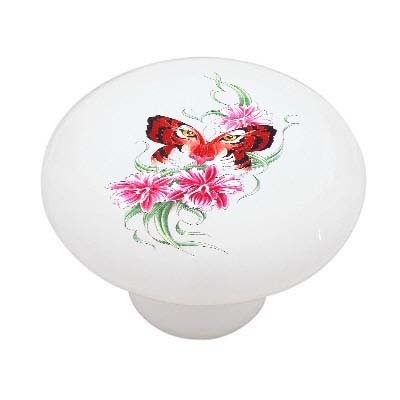 Tiger Butterfly and Flowers Ceramic Drawer Knob