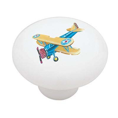 Blue Biplane Ceramic Drawer Knob