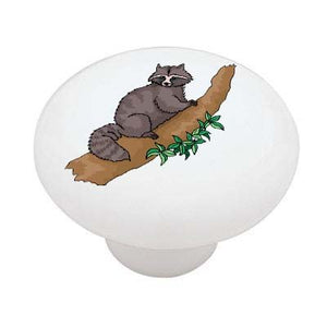 Racoon in the Tree Ceramic Drawer Knob