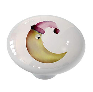 Whimsical Sleepy Moon Drawer Knob