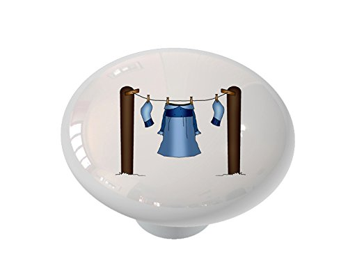 Laundry on The Clothesline Ceramic Drawer Knob