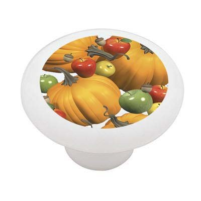 Apple and Pumpkin Cascade Ceramic Drawer Knob