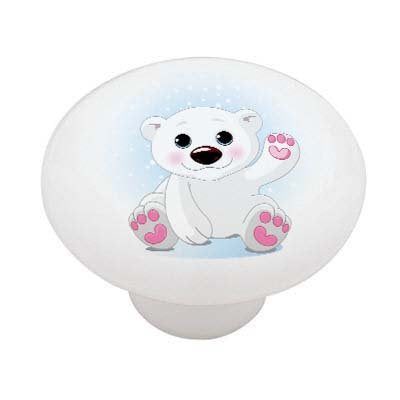 Snow Polar Bear Ceramic Drawer Knob