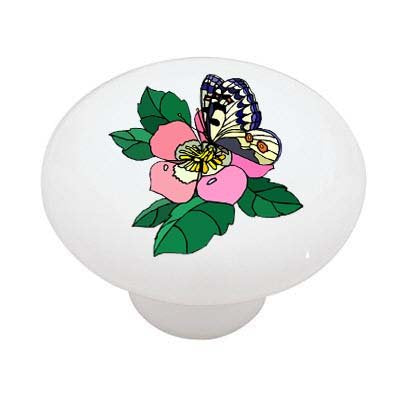Petunia Butterfly Ceramic Drawer Knob