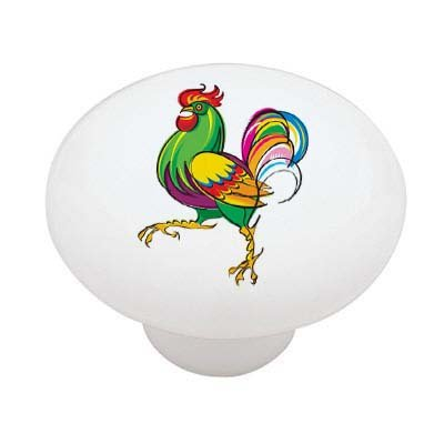 Fancy Rooster Ceramic Drawer Knob