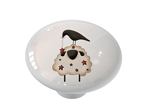 Americana Sheep and Crow Ceramic Drawer Knob