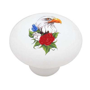 American Bald Eagle and Roses Ceramic Drawer Knob