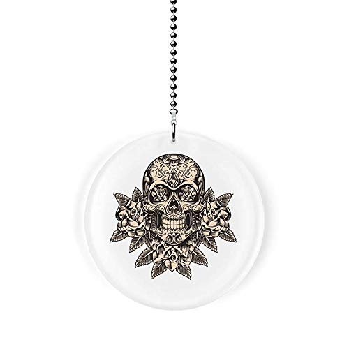 Deco Skull with Flowers Fan Pull