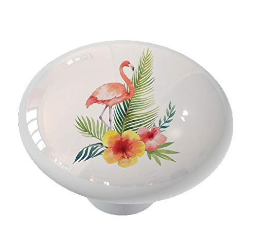 Tropical Flamingo Ceramic Drawer Knob