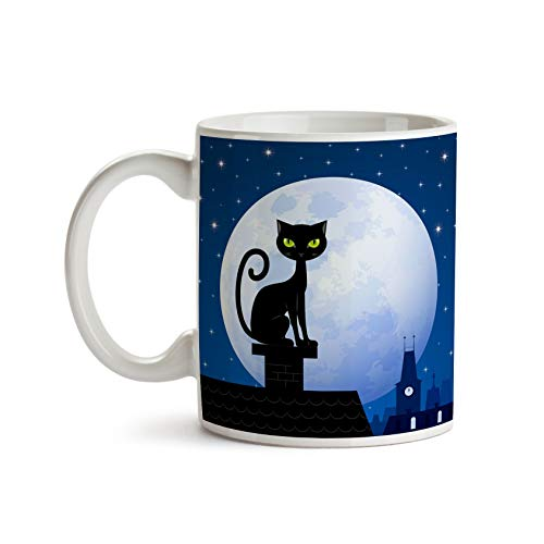 Cat on a Moonlit Roof 11oz Coffee Mug - Tea Mug