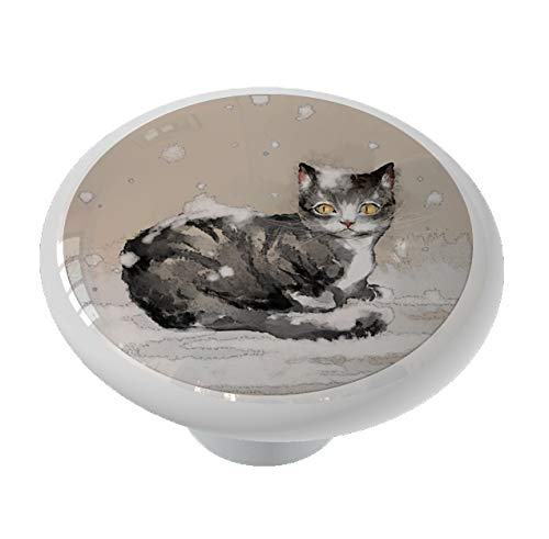 Asian Style Winter Cat Ceramic Drawer Knob