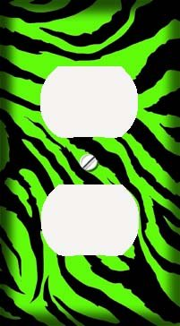 Lime Green Jagged Zebra Skin Print Outlet Cover