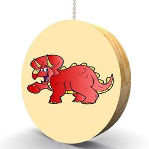 Little Red Triceratops Hardwood Oak Fan/Light Pull