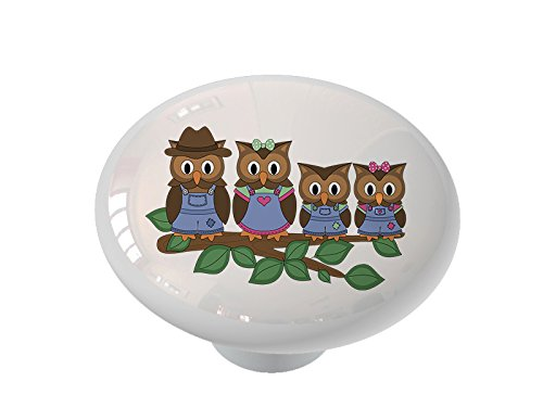 Owl Family on a Branch Ceramic Drawer Knob