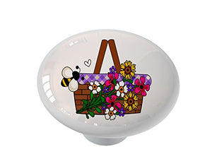 Flower Basket with Bee Ceramic Drawer Knob