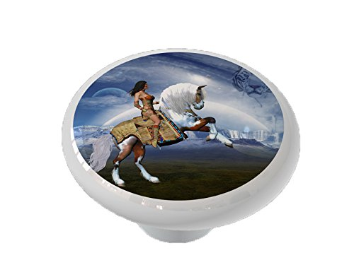 Indian Warrior Horse Ceramic Drawer Knob