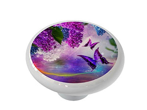 Hydrangea Butterfly Lake Ceramic Drawer Knob