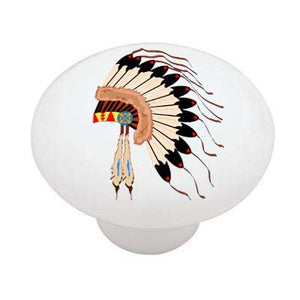 American Indian Headress Ceramic Drawer Knob