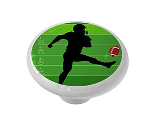 Football Field with Player Ceramic Drawer Knob