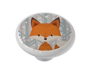 Winter Woodland Fox Ceramic Drawer Knob