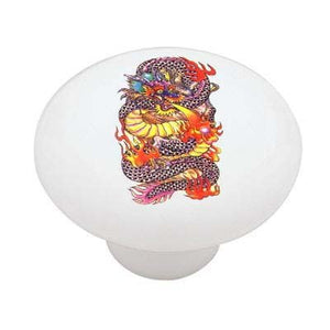 Chinese Red Dragon Ceramic Drawer Knob