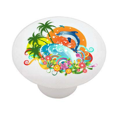 Dolphin Tropical Fun Ceramic Drawer Knob