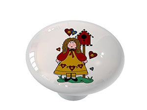 Country Girl and Birdhouses Ceramic Drawer Knob