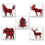Woodland Red Plaid Square Refrigerator Magnet Set