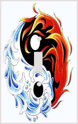 Yin Yang Fire and Water Swirl Switch Plate Cover