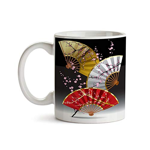 Asian Fans with Cherry Blossoms 11oz Coffee Mug - Tea Mug