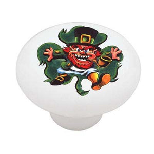 Irish Leprechaun and Clover Leaf Shamrock Ceramic Drawer Knob