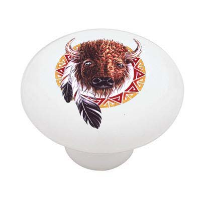 Southwestern Design Buffalo Ceramic Drawer Knob