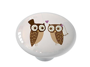 Retro Owl Wedding Ceramic Drawer Knob