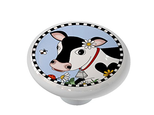 Black and White Country Cow Ceramic Drawer Knob