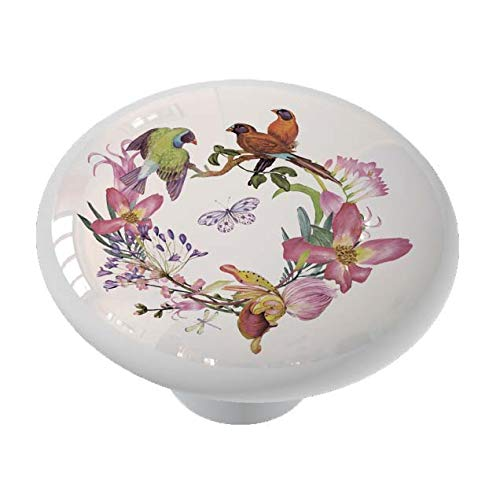 Birds and Orchid Wreath Drawer Knob