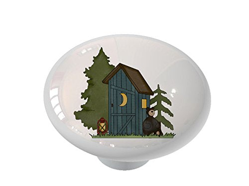 Woodland Outhouse with Bear Ceramic Drawer Knob