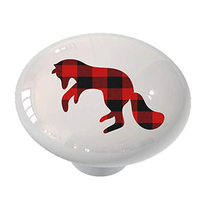 Pouncing Fox Silhouette Red Plaid Drawer/Cabinet Knob by Gotham Decor