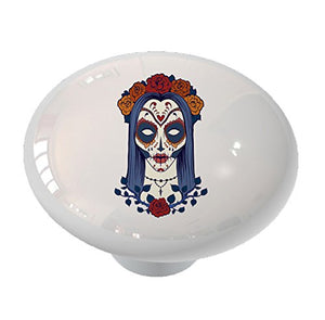 Sugar Skull Woman with Roses Ceramic Drawer Knob