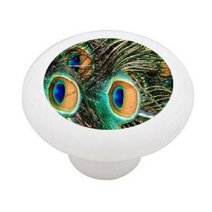 Peacock Feathers Ceramic Drawer Knob
