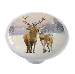 Winter Deer in The Snow Drawer Knob