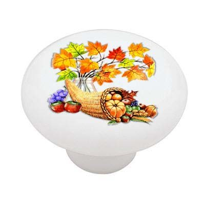Thanksgiving Cornucopia Horn of Plenty Ceramic Drawer Knob