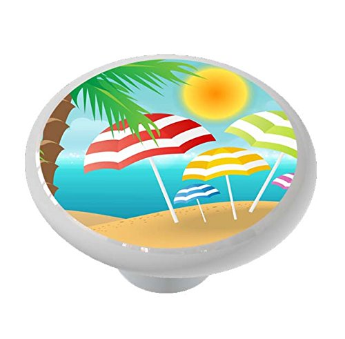 Beach Umbrellas Under Palm Ceramic Drawer Knob