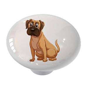 Sitting Mastiff Dog Drawer Knob