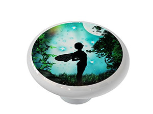 Moon Silhouetted Fairy Ceramic Drawer Knob