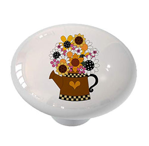 Whimsical Flowers in Watering Can Drawer Knob