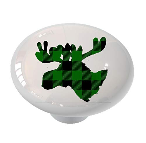 Moose Head Silhouette Green Plaid Drawer Knob