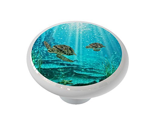 Mother and Baby Sea Turtles Ceramic Drawer Knob