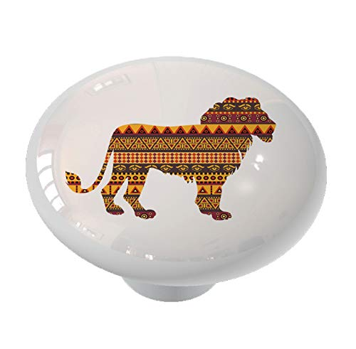 African Lion on African Print Ceramic Drawer Knob