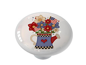 Americana Watering Can Ceramic Drawer Knob