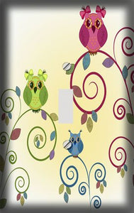 Retro Owls on Swirly Branch Switch Plate Cover